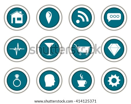 Set of round 3d icons. Vector.