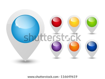 Set of round 3D map pointers - stock vector
