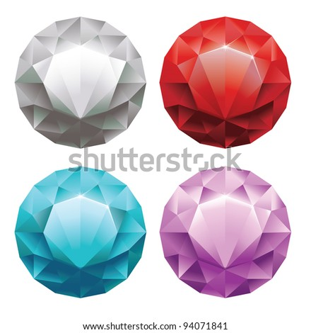 set of round diamonds in 4 colors - vector illustration - stock vector