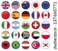 Set of Round Flags world top states - stock photo