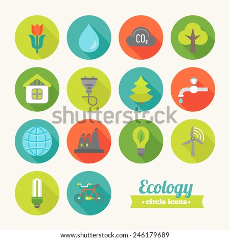 Set of round flat ecological icons. Flower, Water, Cloud, Tree, House, Electricity, Fir Free, Faucet, Earth, Plant, Lamp, Wind Power, Saving Lamp, Bicycle. Perfect for web pages, mobile applications - stock vector