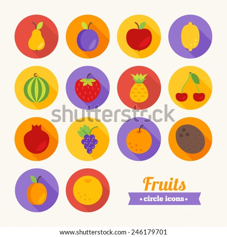 Set of round flat fruits icons. Pear, Plum, Apple, Lemon, Watermelon, Strawberry, Pineapple, Cherry, Pomegranate, Grapes, Orange, Coconut, Apricot, Grapefruit. Perfect for web pages, applications - stock vector