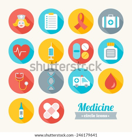 Set of round flat medical icons. Nurse, List, HIV, Case, Heart, Syringe, Pills, Medicament, Stethoscope, DNA, Ambulance, Blood, Thermometer, Plaster Perfect for web pages, mobile applications - stock vector