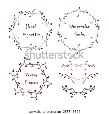 Set of round frames and vignettes made of watercolor floral elements. Hand-painted watercolor design elements isolated on white. Perfect for greetings, invitations, web design. - stock vector