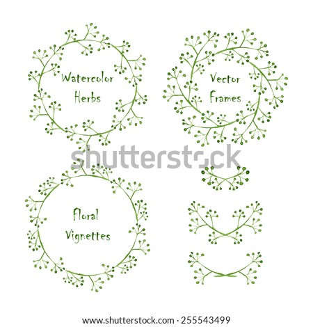 Set of round frames and vignettes made of watercolor grass. Hand-painted watercolor design elements isolated on white. Perfect for greetings, invitations, web design. - stock vector