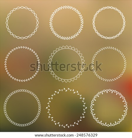 Set of round frames on blurred background - stock vector