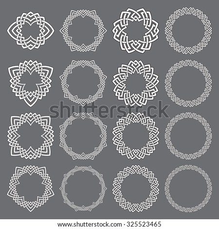 Set of round frames. Sixteen decorative elements for logo design with stripes braiding borders. White lines with black strokes on gray background. - stock vector