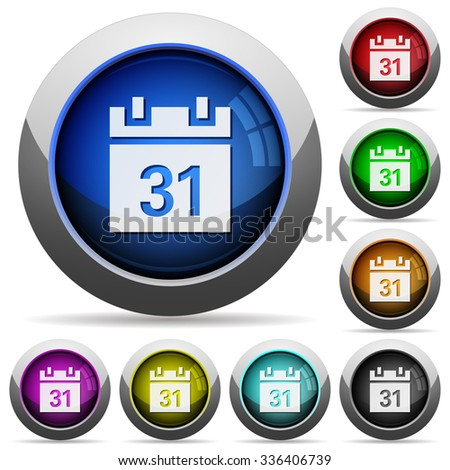 Set of round glossy calendar buttons. Arranged layer structure. - stock vector