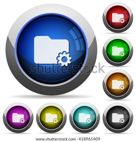 Set of round glossy Folder settings buttons. Arranged layer structure. - stock vector