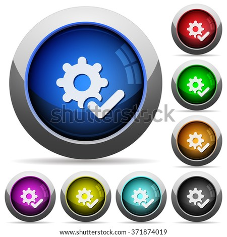 Set of round glossy Settings ok buttons. Arranged layer structure. - stock vector