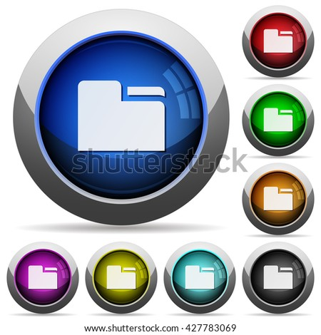Set of round glossy tab folders buttons. Arranged layer structure. - stock vector
