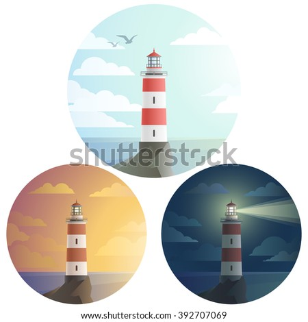 Set of round icon tall lighthouse on a cliff, with beautiful landscape with sea and clouds. Day, sunset, dark night. Flat modern design. Vector illustration EPS10 - stock vector