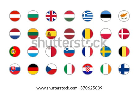 set of round icons European Union flags on white background  - stock vector