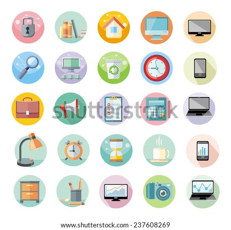 Set of round icons for office and time management with digital devices and office objects on white background - stock vector