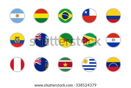 set of round icons South America flags on white background