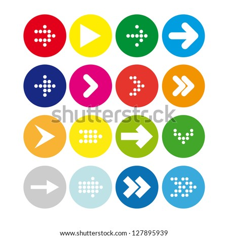 Set #3 of round icons with arrows - stock vector