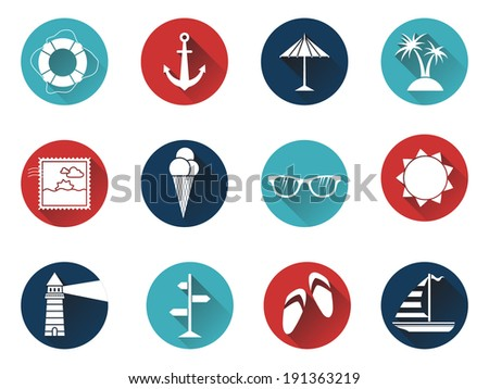 Set of 12 round icons with long flat shadow. Sea summer icons for your design isolated on white background. White silhouettes on colored icons. - stock vector