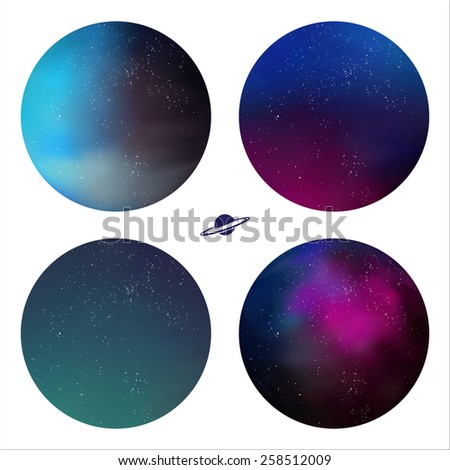 Set of 4 round icons with the image of the space. - stock vector
