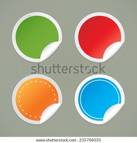 Set of round labels with a curved edge. - stock vector