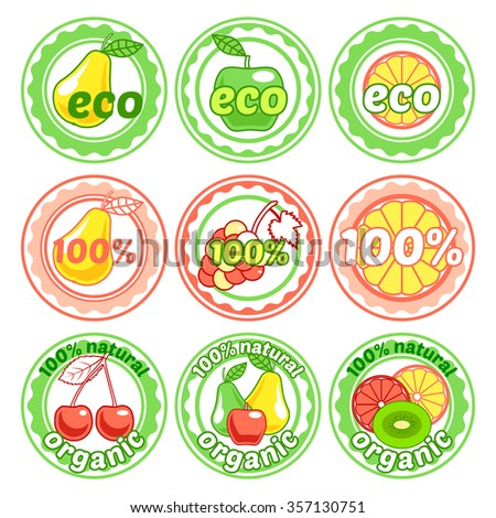 Set of round labels with fruits. Organic, 100% ecological, natural food badges in a flat style. Vector illustration isolated on white background. - stock vector