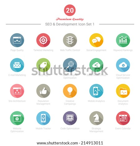 Set of Round Long Shadow SEO and Development icons Set 1 Vector Illustration - stock vector
