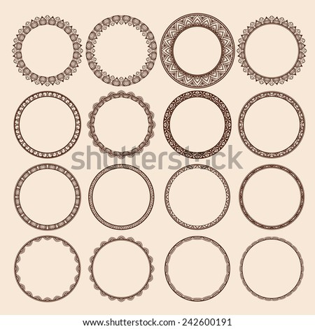 Set of Round Pattern Frames - stock vector
