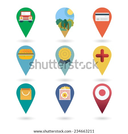 Set of round pointers - car, transport, cinema, mall, park, bank, shop  - stock vector