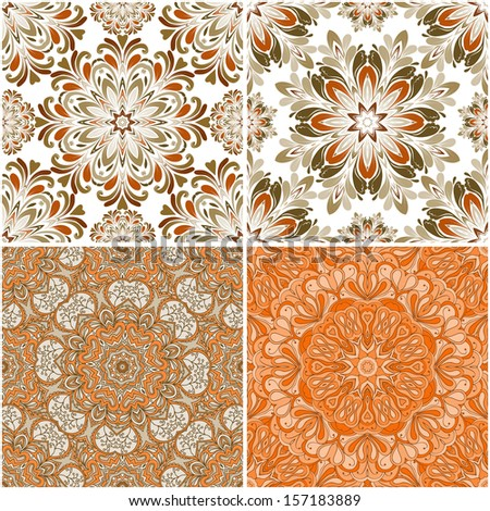 set of round seamless patterns can be used for wallpaper, website background, textile printing - stock vector