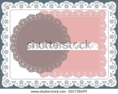 set of round, square lace frame - stock vector
