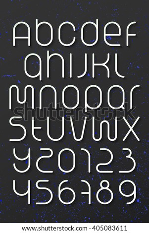 set of round style alphabet letters and numbers over dark background. vector font type design. modern, commercial lettering icons. stylized logo text typesetting. contemporary typography template - stock vector