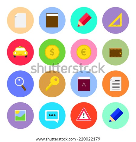 Set of round web icons. Vector flat design - stock vector