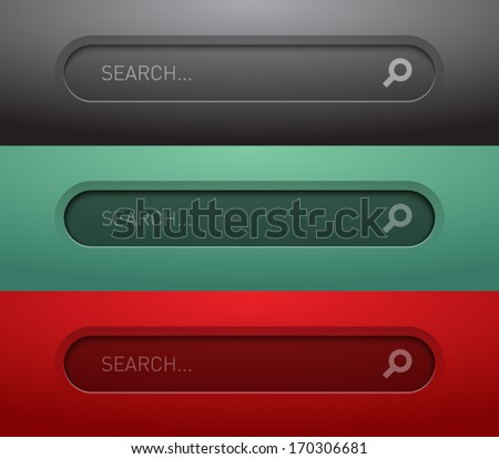 Set of round web search bar form for websites (UI) or applications (app) for smartphones and tablets. Clean and modern style - stock vector