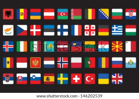 set of rounded square icons with flags of Europe - stock vector