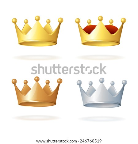 Set of royal crowns isolated on white background - stock vector