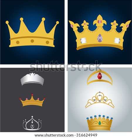 Set of royal crowns on colored backgrounds