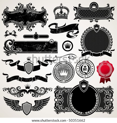 Set of royal ornate frames and elements - stock vector