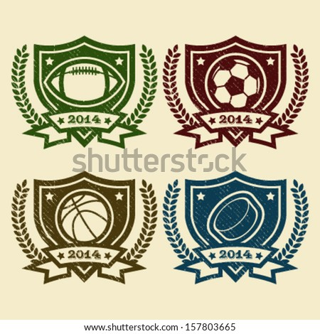 Set of rubber stamp emblems with sport balls icons - stock vector