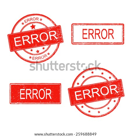 set of rubber stamp with word error on white background - stock vector