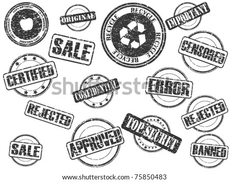 set of rubber stamps
