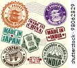 Set of rubber stamps. Asian countries. vector - stock vector