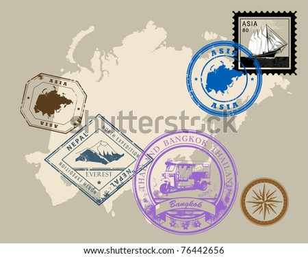 Set of rubber stamps of theme Asia, vector illustration - stock vector