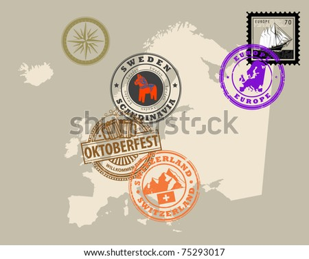 Set of rubber stamps of theme Europe, vector illustration