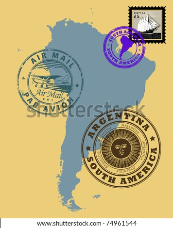 Set of rubber stamps of theme South America, vector illustration