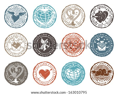 Set of rubber stamps with love signs. Vector graphics set. - stock vector