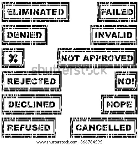 Set of rubber stamps with messages refused, rejected, canceled, declined, eliminated, invalid - stock vector