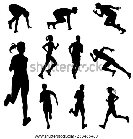 Set of Running People in Silhouettes. Vector Image - stock vector