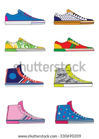 set of running shoes - sneakers - stock vector