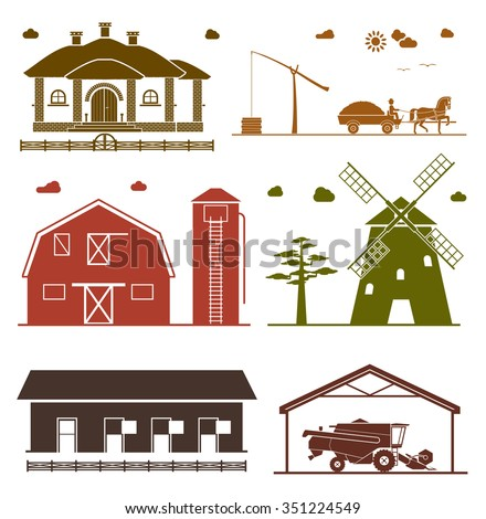 Set of rural architecture objects. House, barn, hangar, windmill, garage for agricultural machines. Agriculture icons. - stock vector