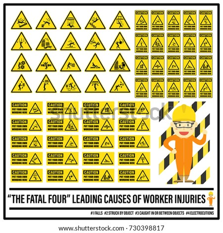 Set Safety Caution Signs Symbols Fatal Stock Vector 730398817