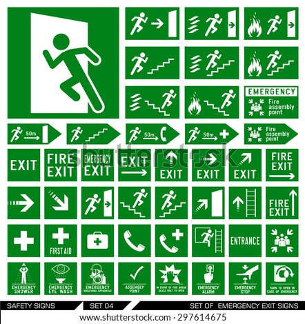 Set of safety signs. Exit signs. Set of emergency exit signs. Collection of warning signs. Vector illustration. Signs of danger. Signs of alerts. - stock vector